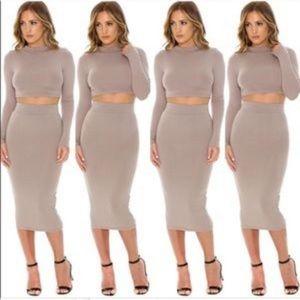 Naked wardrobe high neck crop top midi skirt set